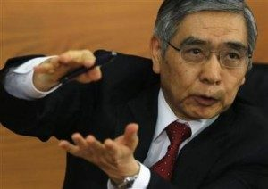 Bank of Japan Governor Kuroda attends a news conference after his first monetary policy meeting in Tokyo