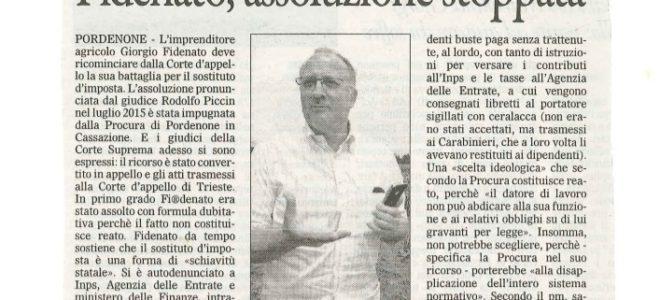 SOSTITUTO D'IMPOSTA, IL PM IMPUGNA L'ASSOLUZIONE DI FIDENATO